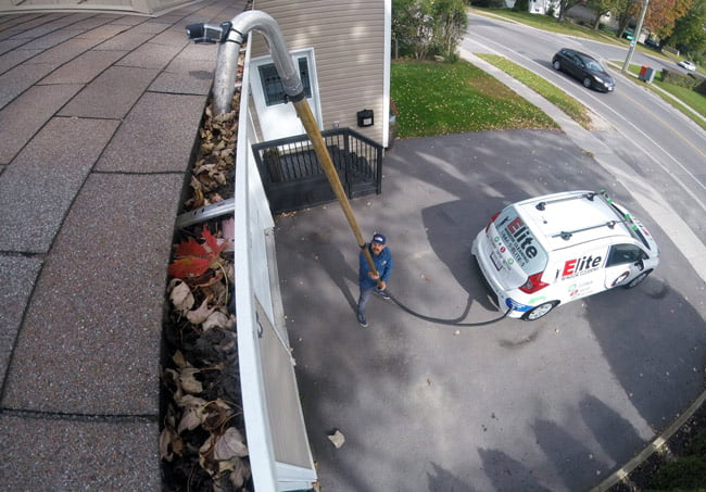 ladderless gutter cleaning